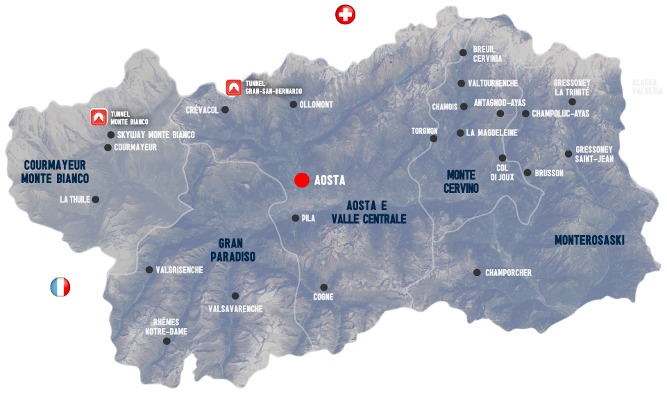 map of Aosta Valley Lifts