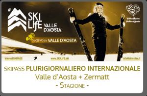 Skipass plurigiornaliero internazionale Valle d'Aosta + Zermatt